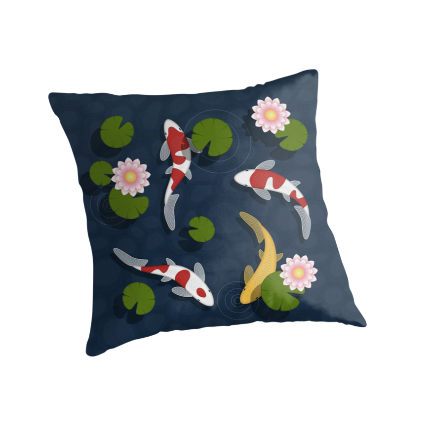 Japanese koi fish pond throw pillows by chibibikun for Koi fish pillow