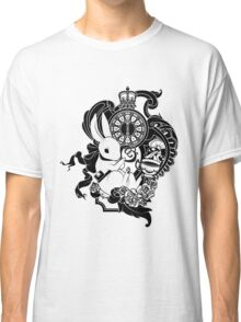 White Rabbit in Black Classic T-Shirt