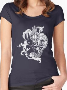 White Rabbit in White Women's Fitted Scoop T-Shirt