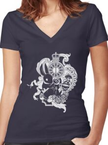White Rabbit in White Women's Fitted V-Neck T-Shirt
