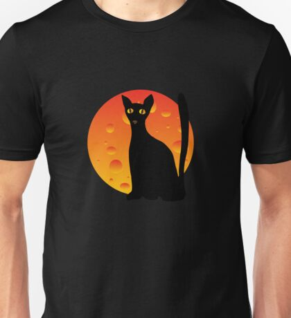 Black Cat & Moon Unisex T-Shirt