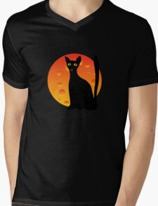 Black Cat & Moon Mens V-Neck T-Shirt