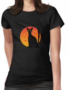 Black Cat & Moon Womens Fitted T-Shirt