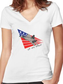 US Air Force - F-22 Raptor Women's Fitted V-Neck T-Shirt