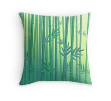 Green Bamboo Serenity Forest Throw Pillow