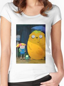 adventure time totoro and finn Women's Fitted Scoop T-Shirt