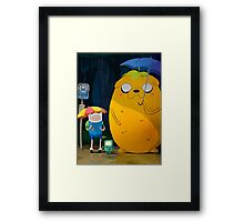 adventure time totoro and finn Framed Print