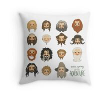 Traveling Party Square - White Throw Pillow