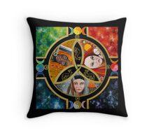 Triple Goddess Mandala by Marg Thomson Throw Pillow