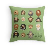 Traveling Party Square - Green Throw Pillow