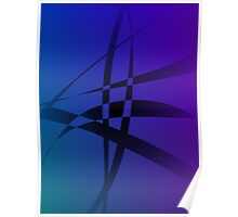 Cool Blue Purple Black Abstract Poster