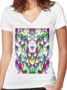 Colorful digital art splashing Women's Fitted V-Neck T-Shirt