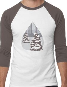 Snowy Pine Trees in a Forest Men's Baseball ¾ T-Shirt