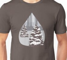Snowy Pine Trees in a Forest Unisex T-Shirt