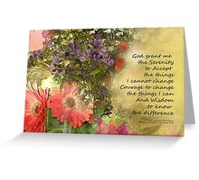 Serenity Prayer Floral Collage Greeting Card