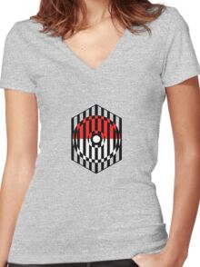 Screened Pokeball Women's Fitted V-Neck T-Shirt