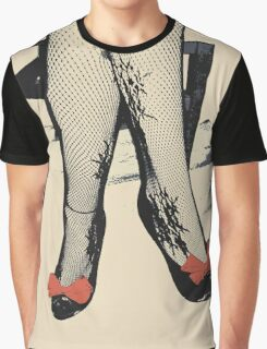 Black Heels with Red Ribbon, Fishnet Bodystocking Girl Graphic T-Shirt