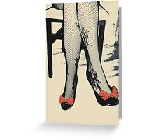 Black Heels with Red Ribbon, Fishnet Bodystocking Girl Greeting Card