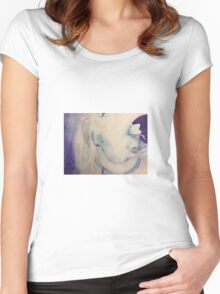 blue dog watercolor Women's Fitted Scoop T-Shirt
