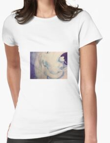 blue dog watercolor Womens Fitted T-Shirt