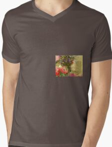 Serenity Prayer Floral Collage Mens V-Neck T-Shirt