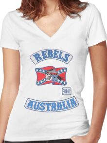 rebel MC supporter  Women's Fitted V-Neck T-Shirt