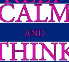 KEEP CALM AND THINK OF THE BEACH - PALM - Navy/Pink Sticker