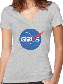 Nasa Girls Women's Fitted V-Neck T-Shirt
