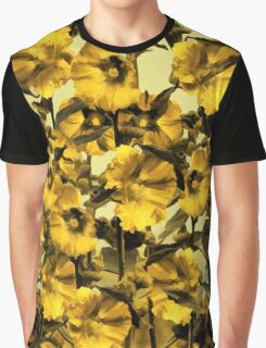 Happy Yellow HollyHock Design Graphic T-Shirt
