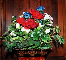 Red, White, & Blue Roses by MidnightRain