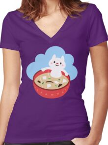 Miso Cat Women's Fitted V-Neck T-Shirt