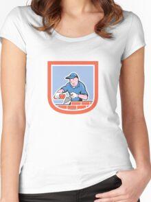 Bricklayer Mason Plasterer Worker Cartoon Women's Fitted Scoop T-Shirt
