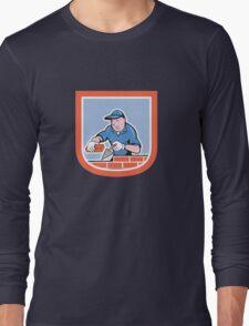 Bricklayer Mason Plasterer Worker Cartoon Long Sleeve T-Shirt
