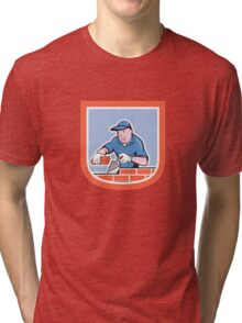 Bricklayer Mason Plasterer Worker Cartoon Tri-blend T-Shirt