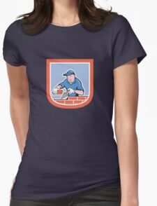 Bricklayer Mason Plasterer Worker Cartoon Womens Fitted T-Shirt