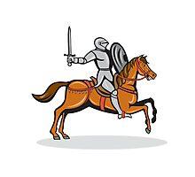 Knight Riding Horse Cartoon Photographic Print
