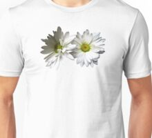 Two White Frilly Daisies Unisex T-Shirt