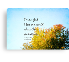 Anne Green Gables October Canvas Print