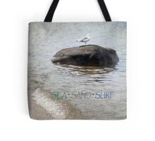 Seagull on a Rock - Photograph Tote Bag