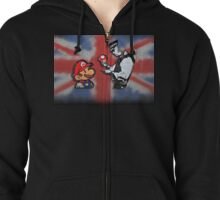 super mario - mushrooms addicted england Zipped Hoodie
