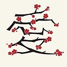 Chinese 'Ai' Love Red Sakura Cherry Blossoms With Black Branches by fatfatin
