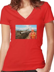 JR Laying Pipe Women's Fitted V-Neck T-Shirt