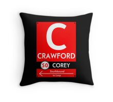 Retro CTA sign Crawford Throw Pillow