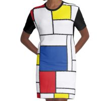 Mondrian Minimalist De Stijl Art Graphic T-Shirt Dress