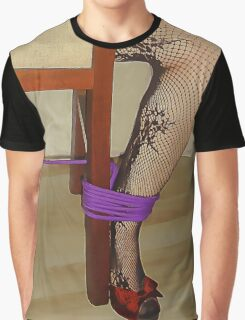 Bodystocking, Ropes and Tied to Chair Girl BDSM Play 2 Graphic T-Shirt