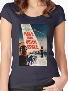Plan 9 From Outer Space Retro Movie Pop Culture Art Women's Fitted Scoop T-Shirt