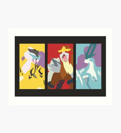 Minimalist Beasts - Raikou / Entei / Suicune Art Print