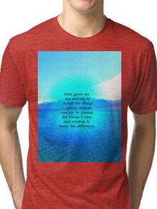 Serenity Prayer With Blue Ocean and Amazing Sky Tri-blend T-Shirt