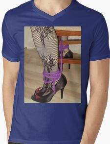 Bodystocking, Ropes and Tied to Chair Girl BDSM Play 3 Mens V-Neck T-Shirt