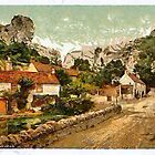A digital painting of The Village and Lion Rock, Cheddar, England 19th century by Dennis Melling